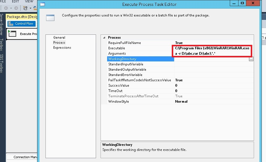 How to compress the files of a folder using winrar in SSIS