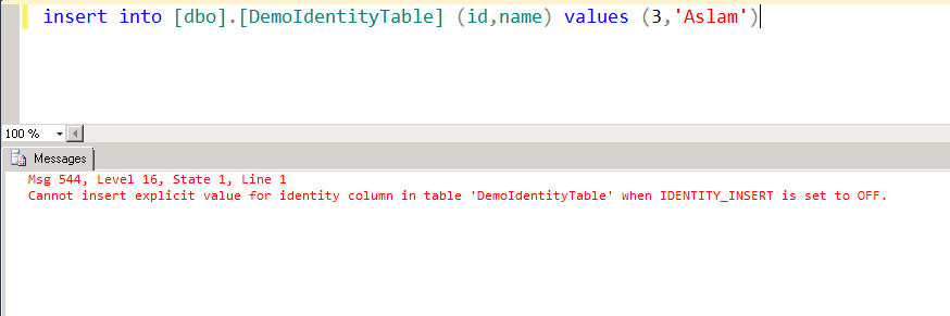 Cannot Insert Explicit Value For Identity Column In Table