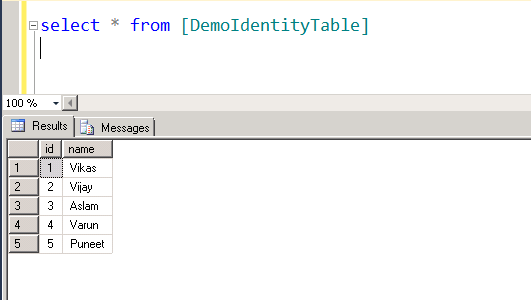 Reuse identity value after deleting rows