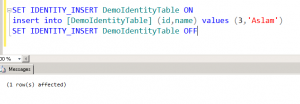 identity_insert is set to on in sql server