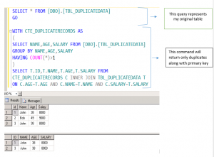 select only duplicate records in sql server