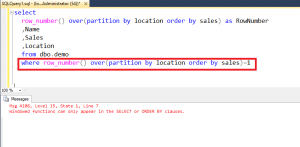 Windowed functions can only appear in the SELECT or ORDER BY clauses.
